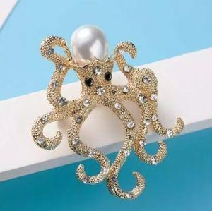 Octopus Pearl Brooch Pin